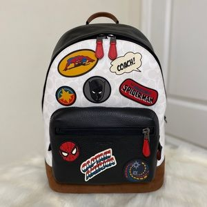 NEW💃COACH X MARVEL LARGE WEST BACKPACK PATCHES